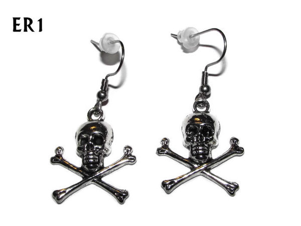 Earrings, silver Skull & Crossbones