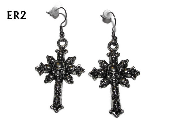 Earrings, Cross of Skulls