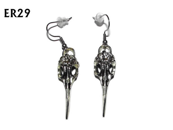 Earrings, Bird Skull