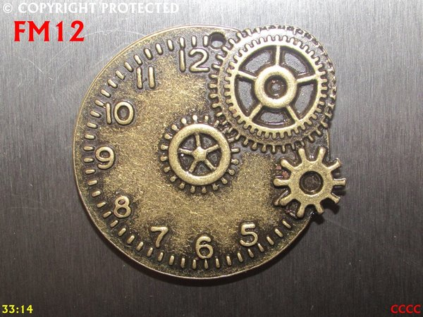 Fridge Magnet, Clock bronze