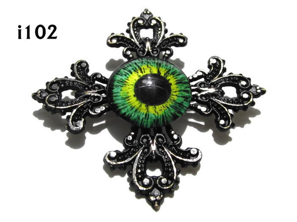 Badge, Eye i#102  Gothic Cross (55x55mm)