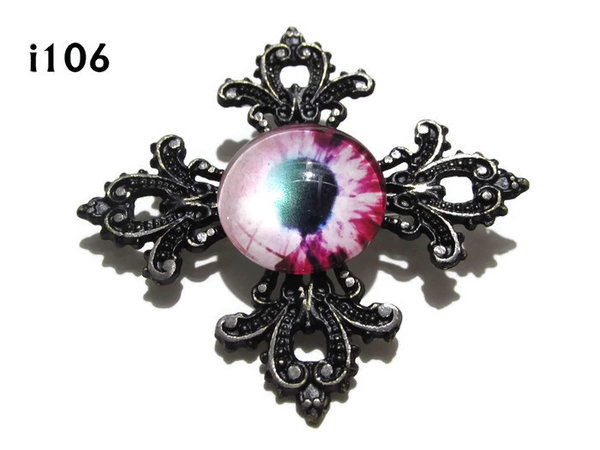 Badge, Eye i#106  Gothic Cross (55x55mm)