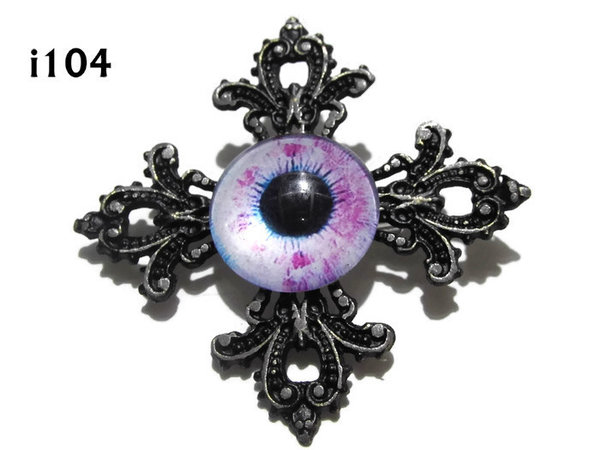 Badge, Eye i#104  Gothic Cross (55x55mm)