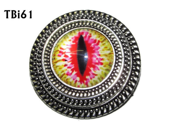 Badge, Eye Tbi#61  Deep silver back (38mm dia.)