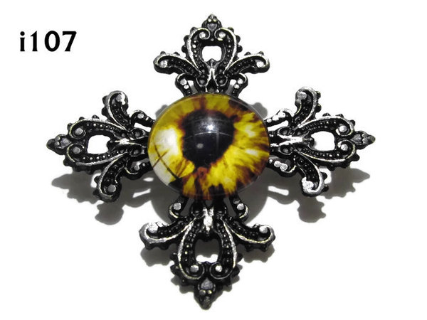 Badge, Eye i#107  Gothic Cross (55x55mm)