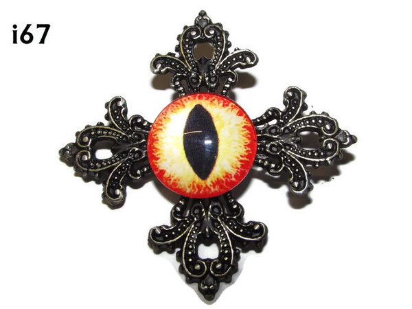 Badge, Eye i#67  Gothic Cross (55x55mm)
