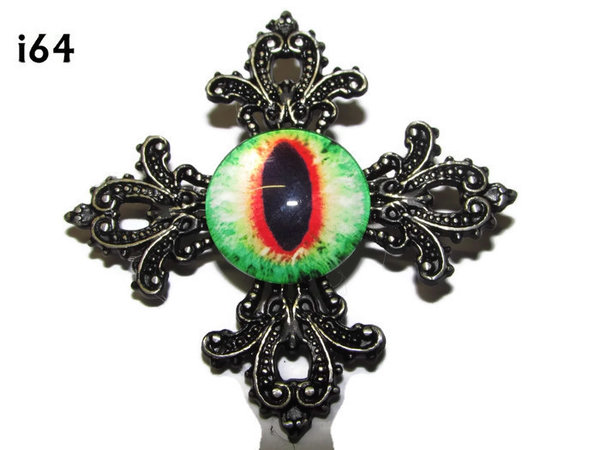 Badge, Eye i# 64 Gothic Cross (55x55mm)