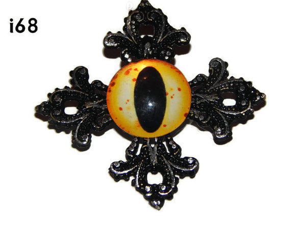 Badge, Eye i#68 Gothic Cross (55x55mm)