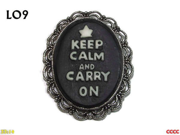 Badge / Brooch LO09, Oval Cameo, Keep Calm, Silver setting (40x50mm)