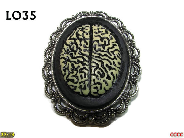 Badge / Brooch LO35, Oval Cameo, Brain, Silver setting (40x50mm)