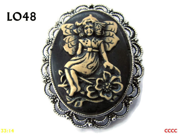 Badge / Brooch LO48, Oval Cameo, Sitting Fairy, Silver setting (40x50mm)