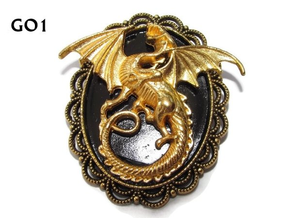 Badge / Brooch GO01, Oval, Gold Dragon, Gold setting (40x50mm)