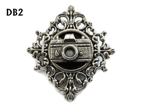 Lapel badge, DB02, Camera design, diamond shaped silver setting (34x37mm)