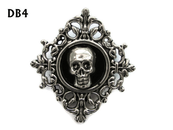 Lapel badge, DB04, Skull design, diamond shaped silver setting (34x37mm)