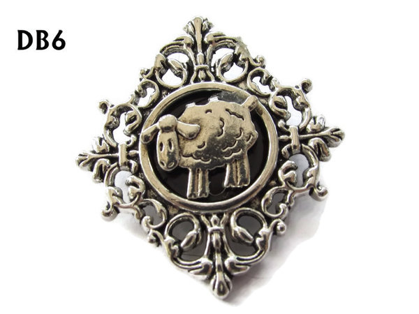 Lapel badge, DB06, Sheep design, diamond shaped silver setting (34x37mm)