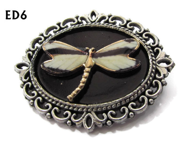 Badge / Brooch, ED06H, Dragonfly, black/silver oval setting (36x30mm)