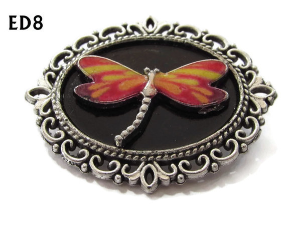 Badge / Brooch, ED08M, Dragonfly, black/silver oval setting (36x30mm)