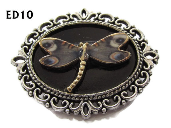 Badge / Brooch, ED10D, Dragonfly, black/silver oval setting (36x30mm)