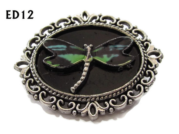 Badge / Brooch, ED12L, Dragonfly, black/silver oval setting (36x30mm)