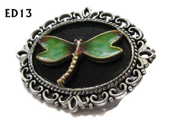 Badge / Brooch, ED13G, Dragonfly, black/silver oval setting (36x30mm)