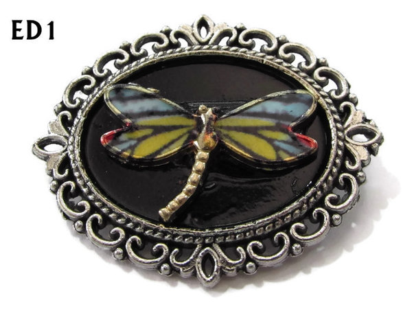 Badge / Brooch, ED01C, Dragonfly, black/silver oval setting (36x30mm)