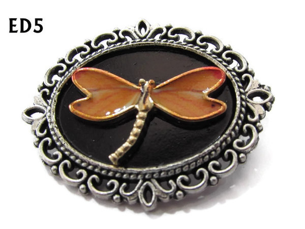 Badge / Brooch, ED05A, Dragonfly, black/silver oval setting (36x30mm)