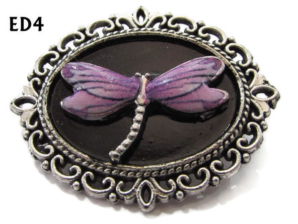 Badge / Brooch, ED04K, Dragonfly, black/silver oval setting (36x30mm)