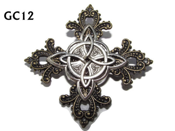 Badge, GC12, Witchs Knot ,Gothic Cross (55x55mm)