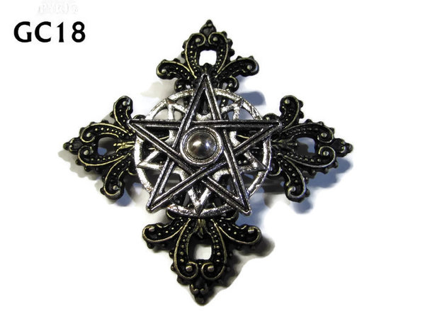 Badge, GC18, Pentagram, Gothic Cross (55x55mm)