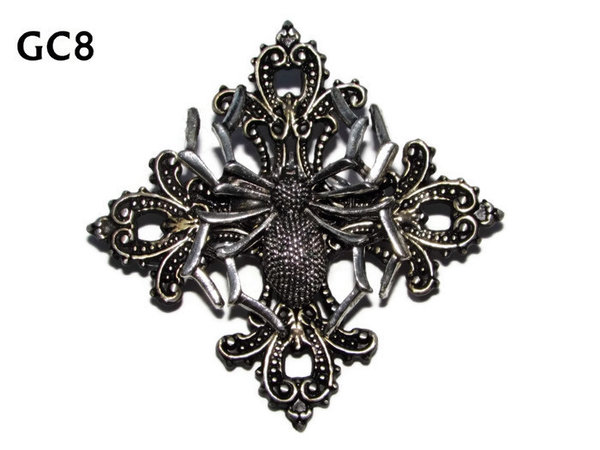 Badge, GC08, Spider Silver ,Gothic Cross (55x55mm)