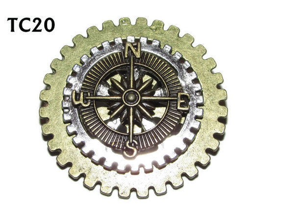 Badge / Brooch, TC20, Navigator, Stacked Gears (40mm dia approx) Compass