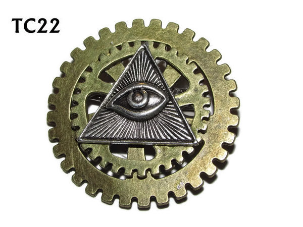 Badge / Brooch, TC22, Eye of Providence, Stacked Gears (40mm dia approx)