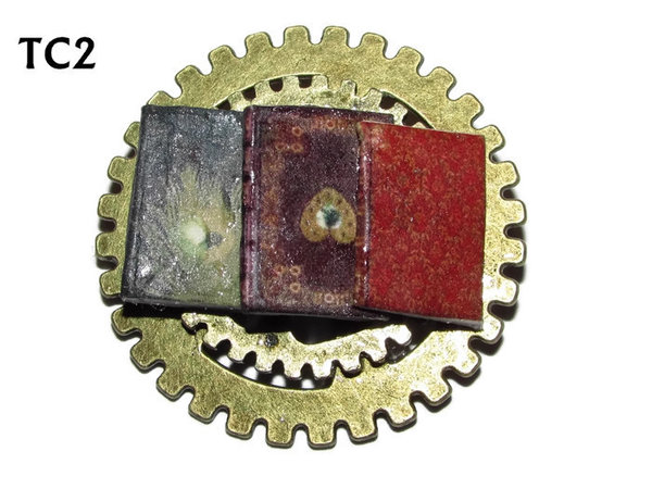 Badge / Brooch, TC02, Librarian , Stacked Gears (40mm dia approx)