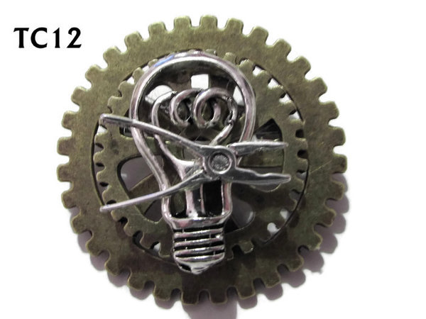 Badge / Brooch, TC12, Electrician , Stacked Gears (40mm dia approx)