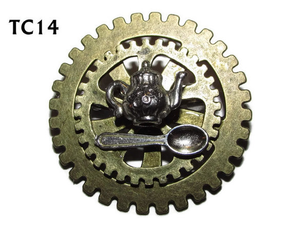 Badge / Brooch, TC14, Teatime , Stacked Gears (40mm dia approx)