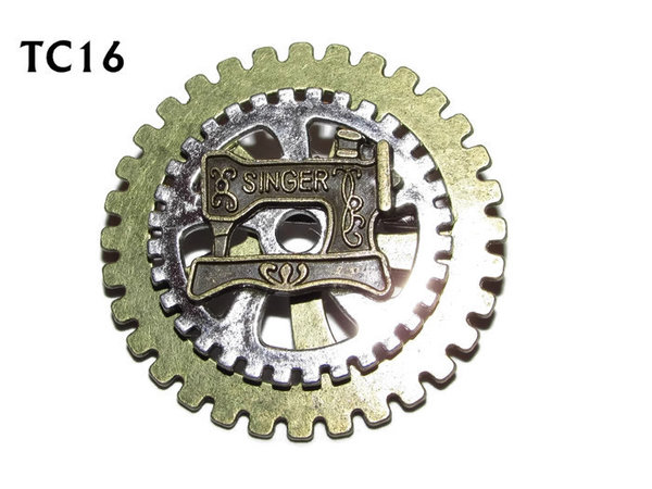 Badge / Brooch, TC16, Seamstress, bronze sewing machine, Stacked Gears (40mm dia approx)