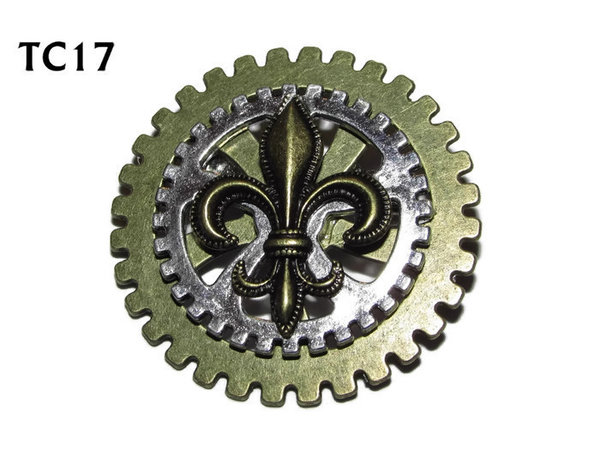 Badge / Brooch, TC17, Courtier, Stacked Gears (40mm dia approx) bronze Fleur de Lis
