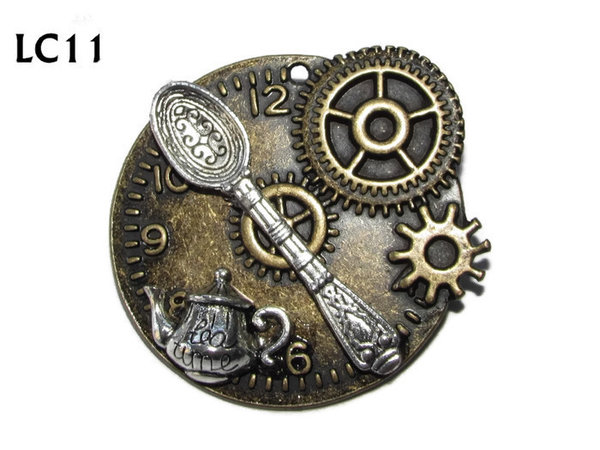 Badge/ Brooch, LC11, Teatime! Bronze clock, spoon (45x45mm)