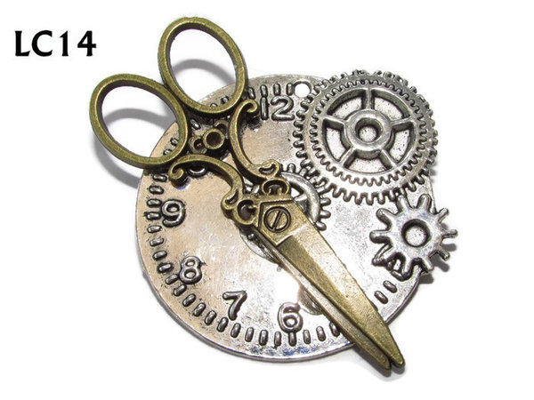 Badge/ Brooch, LC14, Silver clock backing with bronze scissors, (45x45mm)