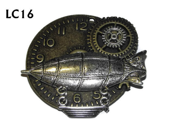 Badge/ Brooch, LC16, Bronze clock backing with silver Zeppelin, (45x45mm)