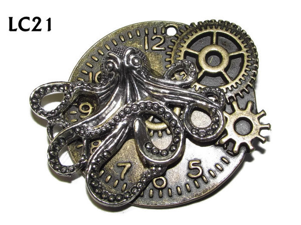 Badge/ Brooch, LC21, bronze clock backing with silver kraken, (45x45mm)