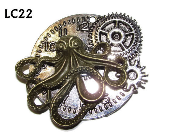 Badge/ Brooch, LC22, silver clock backing with bronze kraken, (45x45mm)