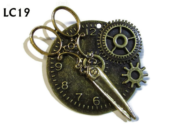 Badge/ Brooch, LC19, Bronze clock backing with gold scissors, (45x45mm)