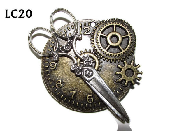 Badge/ Brooch, LC20, Bronze clock backing with silver scissors, (45x45mm)