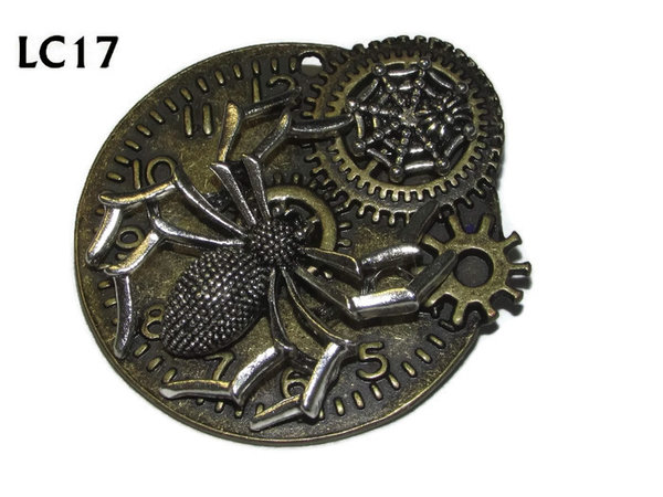 Badge/ Brooch, LC17, Bronze clock backing with silver Spider, (45x45mm)