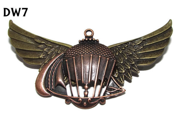 Badge / Brooch, DW07, Balloon on bronze Wings (105mm wide approx)