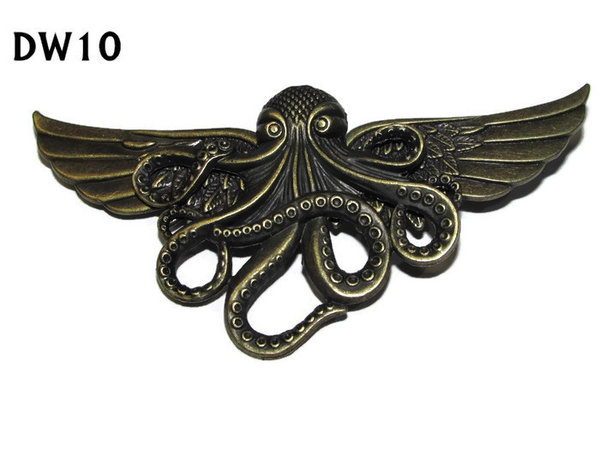 Badge / Brooch, DW10, Bronze Kraken on Bronze Wings (105mm wide approx)
