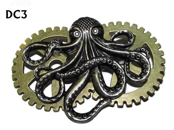 Badge / Brooch, DC03, Sub Octopus Bronze, Double Gear