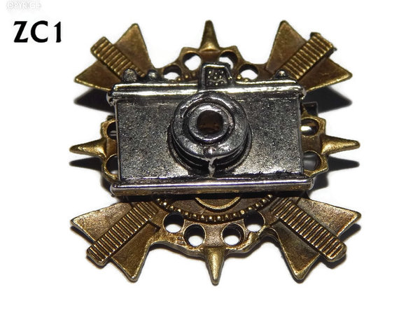 Badge / Brooch. ZC01, Silver Camera, bronze cross backing. (35x35mm)