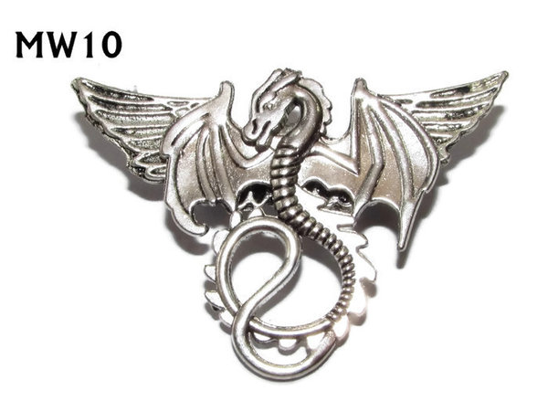 Badge, MW10, Dragon, silver wings (45mm wide)